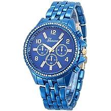 Geneva Lookatool Fashion Classic Luxury Stainless Steel Quartz Analog Wrist Watch (! Blue)