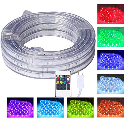 Multi Directional Accent Light - 16.4 Feet Flat Flexible LED Rope Lights, Color Changing RGB Strip Light with Remote Control, 8 Colors Multiple Modes, Plug in Novelty Lighting, Connectable and Waterproof for Home Kitchen Outdoor Use