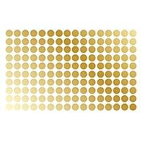 """Calcomanía de pared con lunares Habitación infantil para niños Pelar y pegar Pegatina removible Patrón de círculo Decoración # 1326 (1.5 """"(150 puntos), Dorado)"""