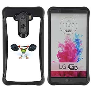 Suave TPU GEL Carcasa Funda Silicona Blando Estuche Caso de protección (para) LG G3 / CECELL Phone case / / Gym Sports Frog White Weight Lifting /