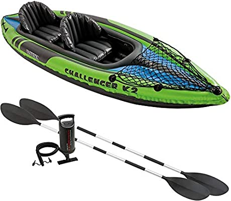 INTEX K2 68306 CHALLENGER - Kayak hinchable de 2 plazas (remos ...