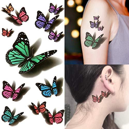 Oottati Small Cute Fake Waterproof Women Temporary Tattoo 3D Green Purple Butterfly (2 Sheets)