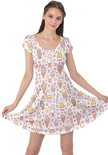 Food Icecream Coffee Ice Cupcakes Donut 5XL Short Dress Snacks CowCow Womens Sweet Cream XS Dessert Sleeve Colorful EU0RxXqw