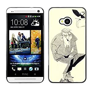 Colorful Printed Hard Protective Back Case Cover Shell Skin for HTC One M7 ( Man Moustache Hitler Art Drawing Pencil )