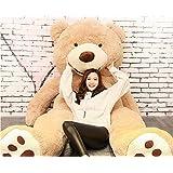 HYAKURIぬいぐるみ 特大 くま/テディベア アメリカCostCo 可愛い熊 動物 大きい/巨大 くまぬいぐるみ/熊縫い包み/クマ抱き枕/お祝い/ふわふわぬいぐるみ (200cm, ライトブラウン)