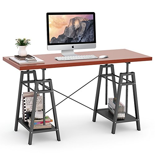 "Tribesigns Computer Desk, Height Adjustable Desk 55"" Large Office Desk"