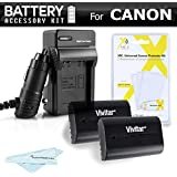 2 Pack Battery and Charger Kit For For The Canon EOS 60D, 70D, 5D Mark II, 5D Mark III & 7D, 7D Mark II, EOS 5DS, 5DS R DSLR Camera Includes 2 Extended Replacement LP-E6 (2000mAH) Battery (with Info-Chip!) + Ac/Dc Charger ++. (Battery Shows time on LCD!)