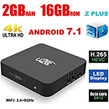 Android 7.1 Smart TV Box U2C Z Plus Amlogic S912 Octa Core 2GB RAM 16GB ROM 4K Ultra HD H.265 2.4G 5G Dual-Band Wifi with LED Display Gigabit 1000M LAN Ethernet