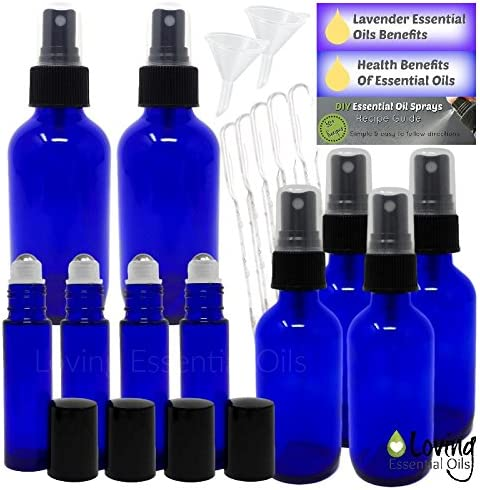Essential Oil Bottles 20 PC Kit for Aromatherapy. Blue and Amber Glass Empty Fine Mist Spray Bottle Set, Roller Bottles, Lavender Guide, Benefits of Essential Oils, DIY Recipes Guide.