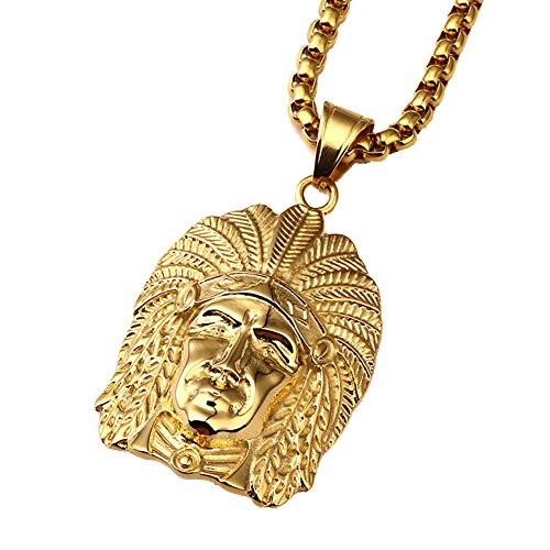 Men's Stainless Steel Indian Chief Necklace Native American Chief Head Feather Charm Pendant