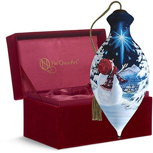 "Snowman Hand Painted Ornaments - Ne'Qwa Art,, Upon A Midnight Clear"", Artist Dona Gelsinger, Brilliant-Shaped Glass Ornament, 7161104"