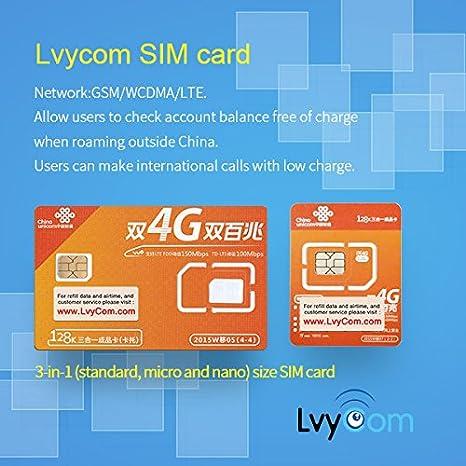 Tarjeta SIM de China de 6 GB Datos 4G LTE + 50 Minutos de Llamadas Locales o 100 Mensajes de Texto. ¡Llamadas y Mensajes de Texto entrantes Gratis!