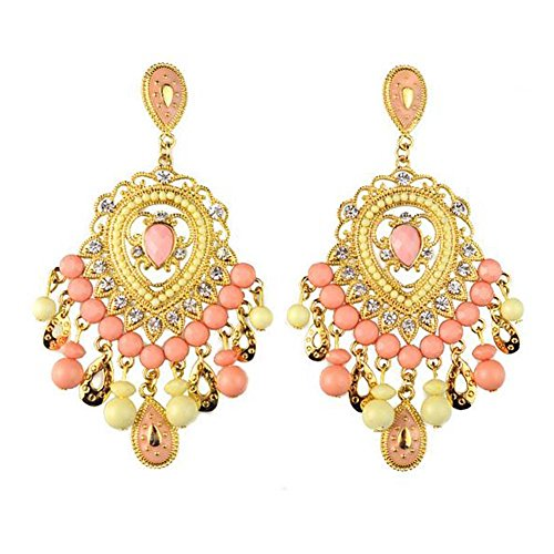 [Christmas GERGER BO Women's Retro Bohemian Drop-shaped Diamond Earrings(Pink)] (Lord Of The Rings Child Arwen Costume)