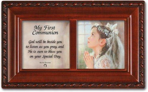 First Communion Girl Petite Woodgrain Music Box Plays Ave Maria (Grain Box Music Wood Petite)