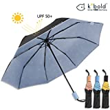 Kobold Ballet Parasol Umbrella With 3 Folding Windproof Waterproof Anti-UV Lightweight For Unisex, New and Unique Travel Compact Sun Rain Umbrellas (Blue)