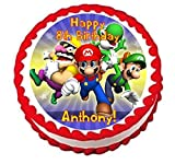 "Super Mario Bros Personalized Edible Cake Topper Image -- 7.5"" Round"