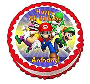Super Mario Bros Personalized Edible Cake Topper Image