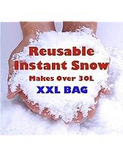 Instant Snow Powder, Reusable Artificial Christmas Magic Fake Snow Makes 30L, Winter White Snow Decoration Kids Fun Party Powder 400g XXL Bag