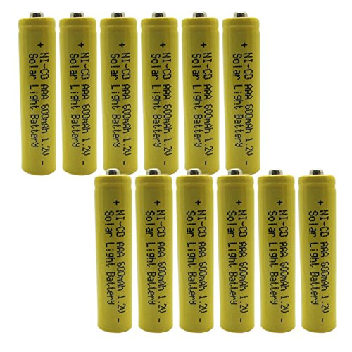 Generic 1.2v AAA NiCd 600mAh Rechargeable Battery for Solar light Lamp Yellow Color