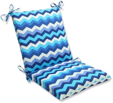 Pillow Perfect Outdoor Indoor Panama Wave Azure Square Corner Chair Cushion, 36.5 x 18 , Blue
