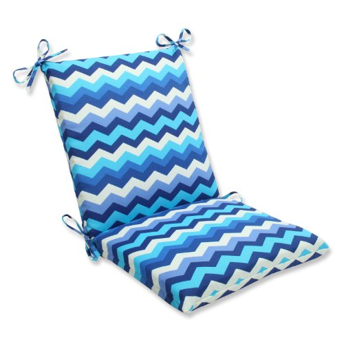 Pillow Perfect Outdoor Panama Wave Squared Corners Chair Cushion, Azure (Table Chairs And Panama)
