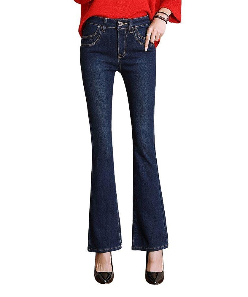 DRASAWEE Women's Slim Skinny Denim Pants Winter Thicken Jeans Flared Trousers WQT0108