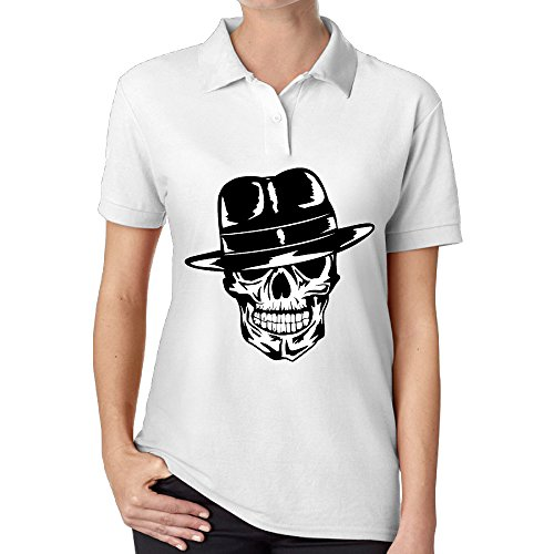XIYX Skull Tattoo Illustration Sport Women's Sport Performance Classic Comfortable Short Sleeve Jersey Polo (Morphsuits For Women)