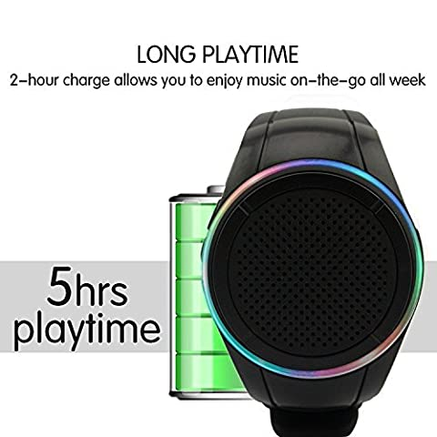 SZCHENGCI Mp3 Watch Speaker , Wearable Wrist Speaker , Indoors with LED light + MP3 Player + FM Radio + Handsfree Calls + BT Shooting + Anti-lost, Music Sports Wristband For Running, (Jogging Mp3 Player Bluetooth)