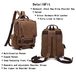 Leparvi Canvas Fashion Backpack Purse Rucksack One Strap Sling Cross body Messenger Bag Travel Rucksack (Coffee)