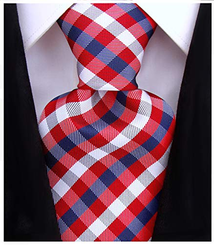 (Gingham Plaid Ties for Men - Woven Necktie - Red and Navy Blue)
