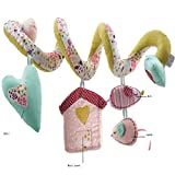 Pink Wrap Around Crib infant seat Spiral activity Toy with love heart