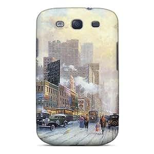 Protective Tpu Case With Fashion Design For Galaxy S3 (thomas Kinkade New York Snow On Seventh Avenue 1932)
