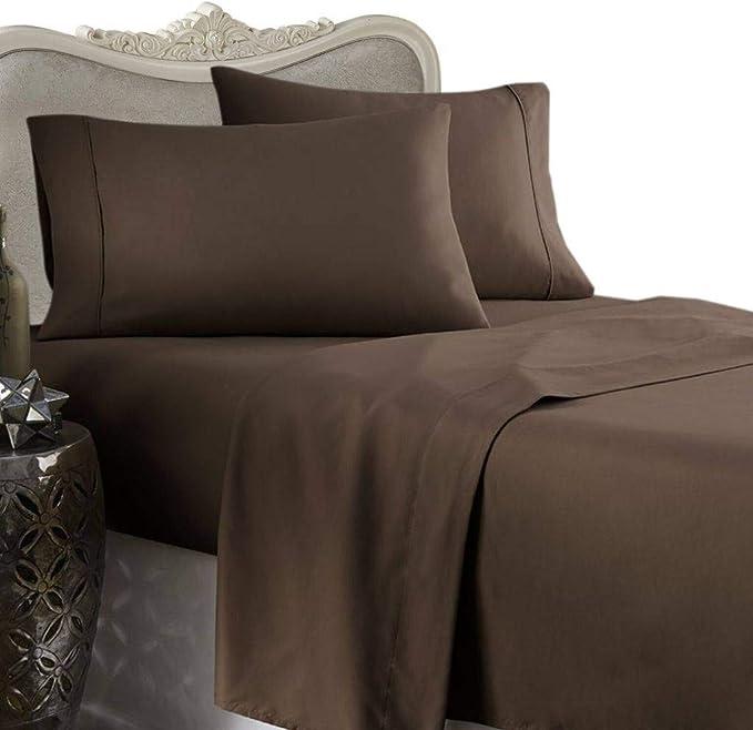 Luxurious 1000 Thread Count Egyptian Cotton 1000tc 4 Piece Sheet Set California King Chocolate Soild 1000 Tc Kitchen Dining