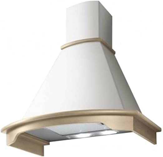 Elica - Campana de cocina rústica para pared, modelo Corallo, color marfil con contorno de madera en bruto: Amazon.es: Hogar