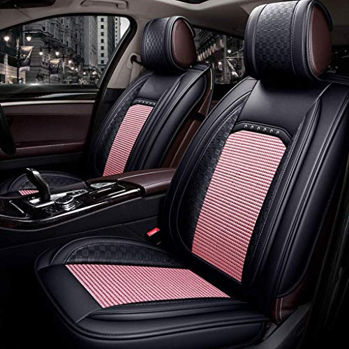 Lykaci Car Seat Covers Set Leather, Universal 5 Seats Seat Cushions for the front seats and rear seat Seats (Color : Pink):