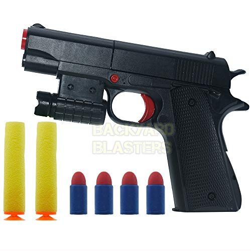 Backyard Blasters Toy Gun Colt M1911A1 Rubber Bullet Pistol Mini Pistols,Kids Softs Foam Dart Blaster Toy