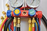 4-Way Manifold Gauge Set w/4 Hoses, Red Blue Yellow and Black 2/8 Vacuum Hose for R410a R22 R404a More retrofit Replacement Refrigerants Forged Aluminum Alloy Body Frame Sign Viewing Glass