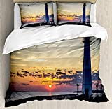 Our Wings Lighthouse Comforter Set,Michigan Sunrise Along the Shores Beautiful St. Igance Michigan Nautical Journey Bedding Duvet Cover Sets Boys Girls Bedroom,Zipper Closure,4 Piece Twin Size