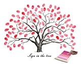 Fingerprints Tree, KOMIWOO Creative DIY Canvas Painting Signature Sign-in Guest Book for Wedding Birthday Party Baby Shower Graduation with 4pcs Ink Pads