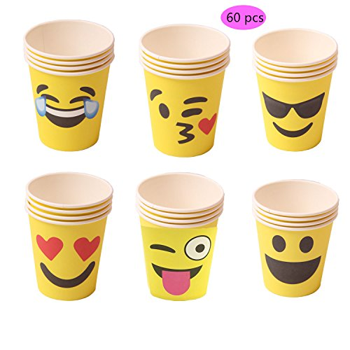 Set of 60 Emoji Party Paper Cups, 9 Ounce Top Popular for Birthdays Crafts Prizes and Games Theme Tableware Set Prime foci (Soft Drink Costume)