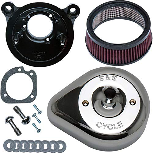 S&S Cycle Stealth Air Cleaner Kit with Teardrop Cover Compatible for Harley-Davidson Dyna Low Rider S FXDLS : 2016 - Chrome