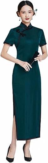 فستان Qipao نسائي من HangErFeng من قماش الجاكار الحريري الصيني أخضر داكن نحيف فستان Cheongsam 3318