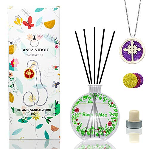 binca vidou Reed Diffuser Set with Essential Oil Necklace, Sandalwood & Fig Oil Reed Diffusers for Bedroom Living Room Office Aromatherapy Oil Reed Diffuser for Gift & Stress Relief 100ml