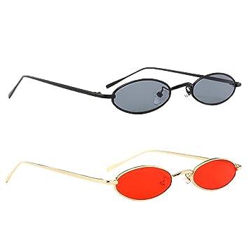 32dab9d542 MagiDeal 2X Gafas de Sol Ovaladas con Montura Metálica UV400 Estilo Retro  para Mujer Hombre: Amazon.es: Deportes y aire libre