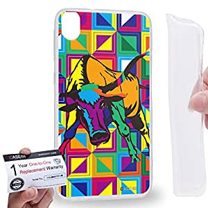 Case88 [HTC Desire 820] Gel TPU Carcasa/Funda & Tarjeta de garantía - Art Drawing Bull Zodiac Taurus Kawaii Abstract Animals Art2569