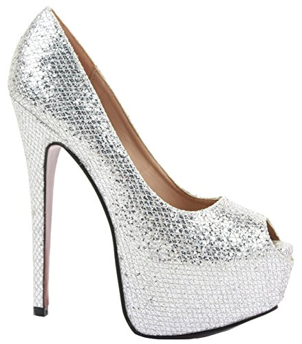 NEW LADIES WOMENS PLATFORM STILETTO PARTY PROM WEDDING HIGH HEEL PUMPS COURT SHOES SIZE Style 5 - Silver