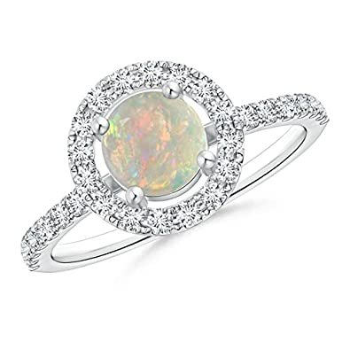 Angara Opal and Diamond Ring in Rose Gold - October Birthstone Ring xAcvYOy