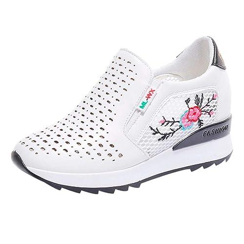 Zapatos de Plataforma para Mujer Otoño Verano 2018 Moda PAOLIAN Zapatillas de Cuña Embroidered Casual Calzado de Dama Rejilla Breathable Sin Cordones Suela ...
