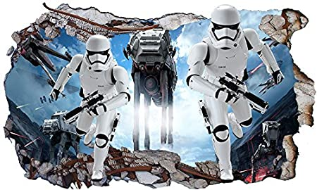 Star Wars At At Attack V401 Magic Window Wall Smash 3d Wall Sticker