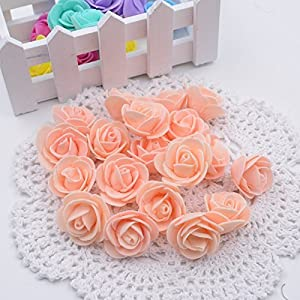 Jing-Rise Artificial Flowers 100PCS 3CM Mini Fake Roses for DIY Wedding Bouquets Centerpieces Party Baby Shower Home Decorations 119